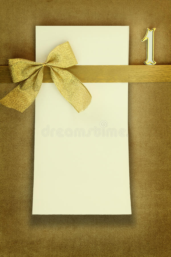 Happy birthday card with number one. Happy birthday card on golden background stock photo