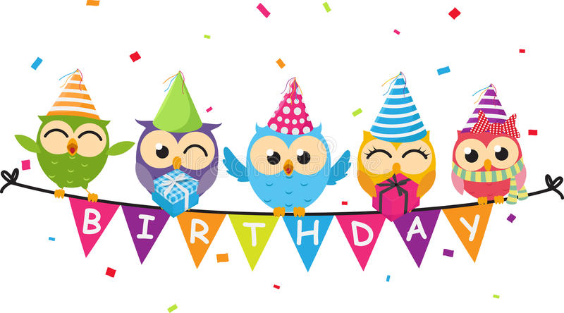 Happy birthday card with owl and bunting flag stock illustration