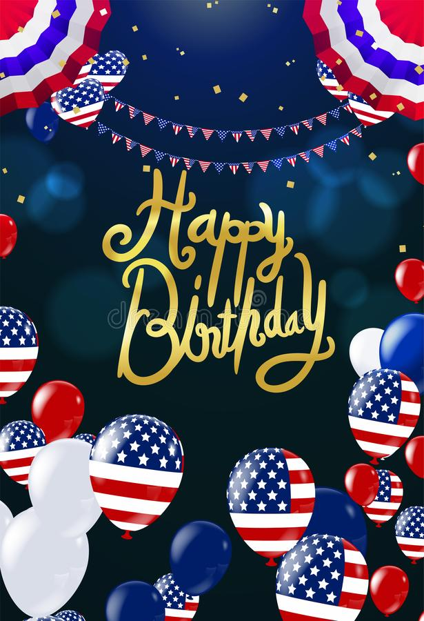 Happy birthday card party balloons USA festive vector illustration EPS 10. Background Vector. Ready for Design vector illustration