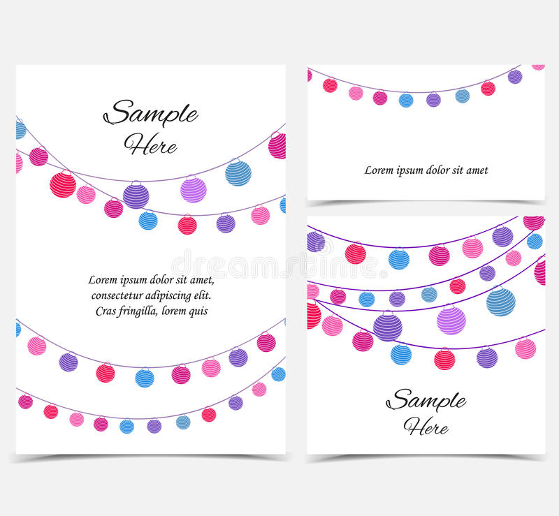 Happy birthday card, party celebration. Vector illustration with a chain of colored lanterns. Happy birthday card, party celebration. Set of greeting cards stock illustration