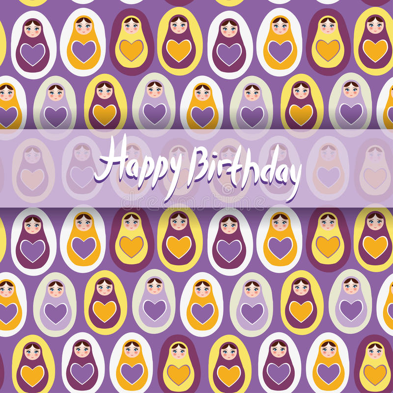 Happy Birthday Card Pattern Orange Russian Dolls Matryoshka On – Russian Birthday Greetings