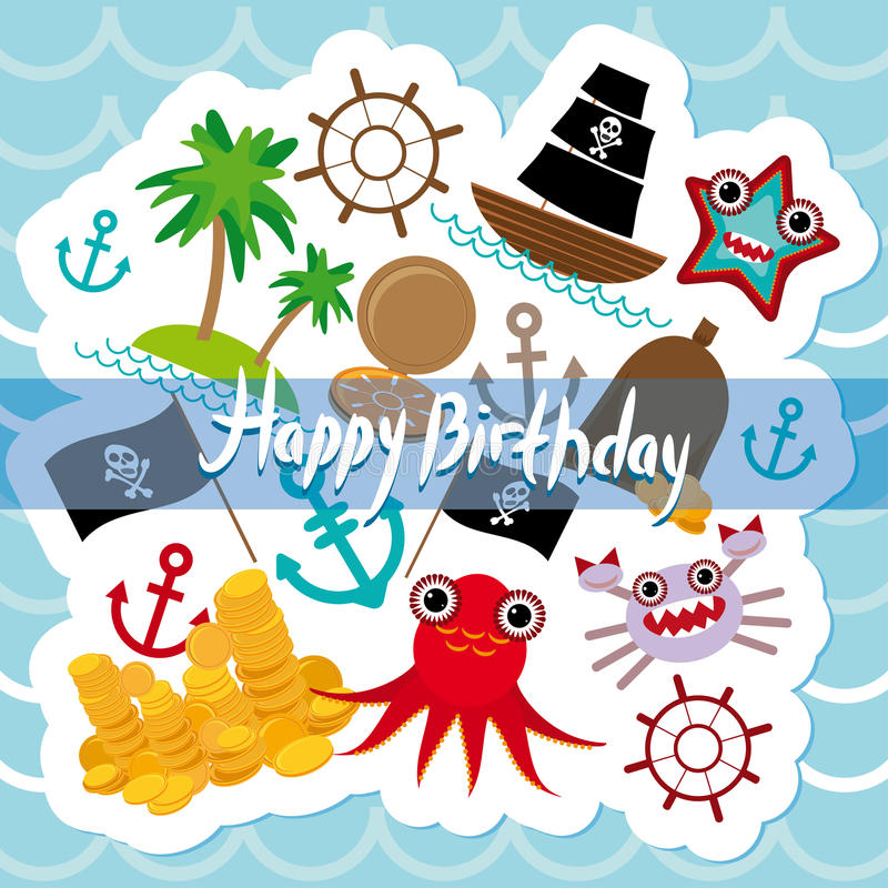 Happy Birthday Card pirate. Cute party invitation animals design royalty free illustration