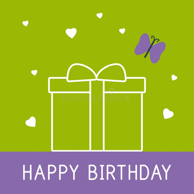 Happy birthday card with present and butterfly stock illustration