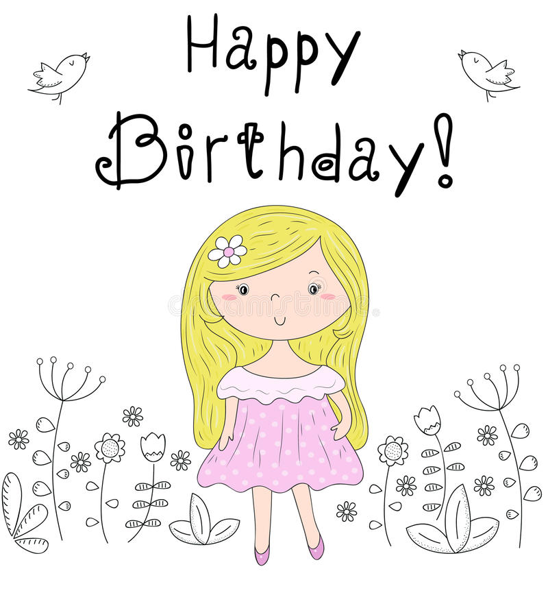 Happy birthday card pretty little girl vector illustration stock download happy birthday card pretty little girl vector illustration stock vector illustration of romantic bookmarktalkfo Images