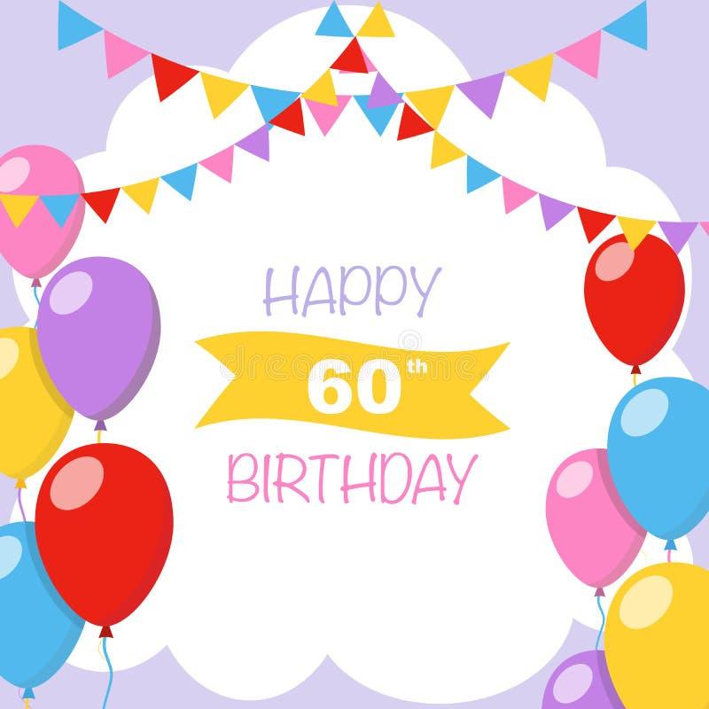 Happy birthday card purple balloons stock illustration