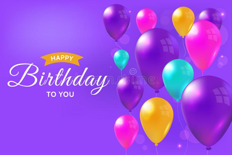 Happy birthday card with realistic colorful balloons. Celebration illustration, glossy design background stock illustration