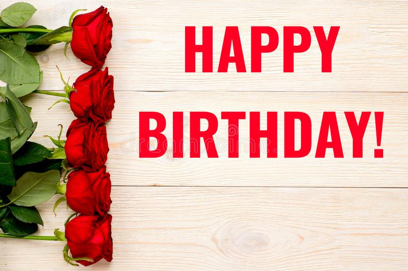 Happy birthday card with red roses stock images