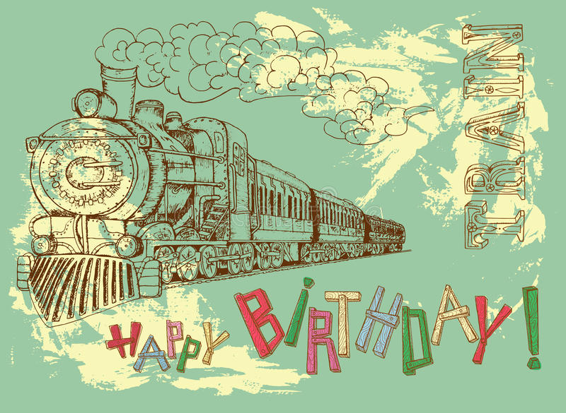 Line Art Letters : Happy birthday card with retro train letters stock vector
