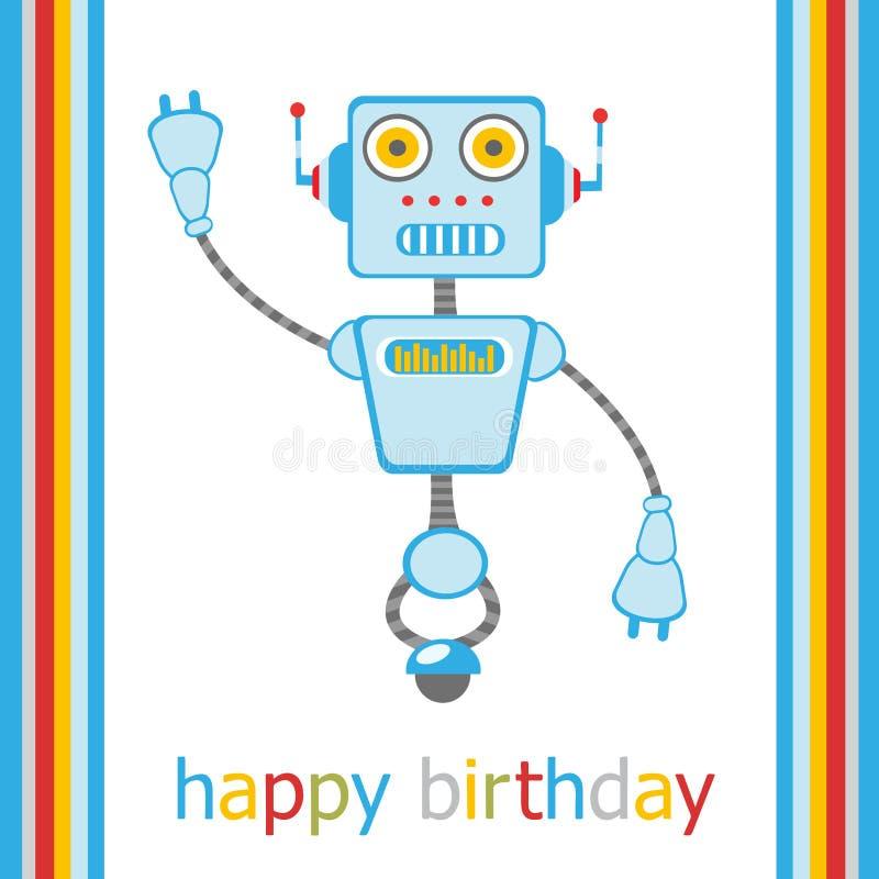 Happy birthday card with robot stock illustration