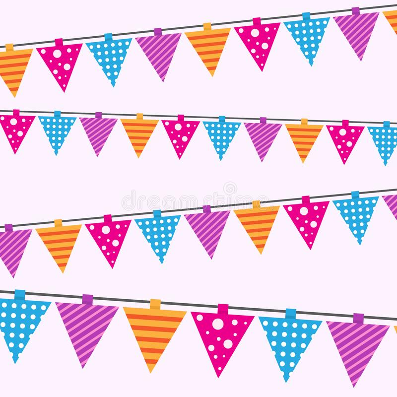 Happy birthday card seamless pattern. Bright background for cards or gift wrapping paper with party colorful flags stock illustration