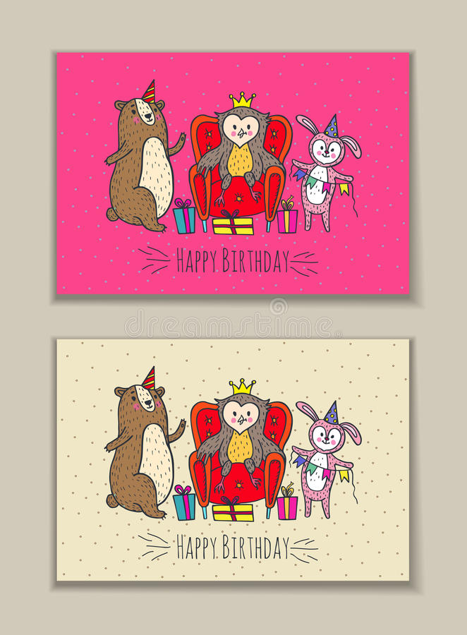 Happy Birthday Card Set With Owl Bear And Rabbit Characters Stock