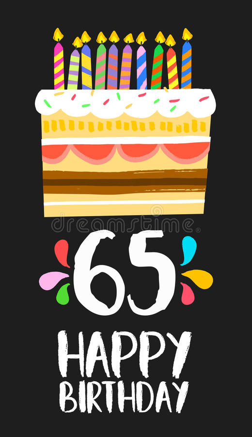 Happy Birthday card 65 sixty five year cake royalty free illustration