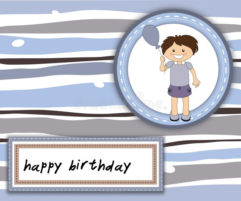 Happy Birthday card with smiling girl. And balloon vector illustration