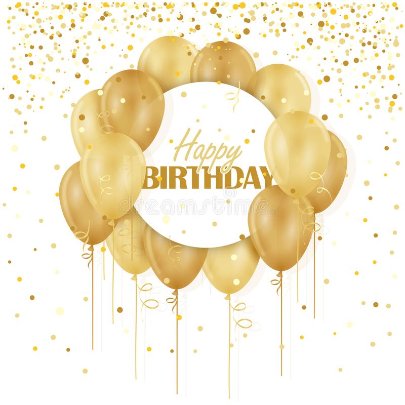 HAPPY BIRTHDAY Card with gold balloons and confetti royalty free illustration
