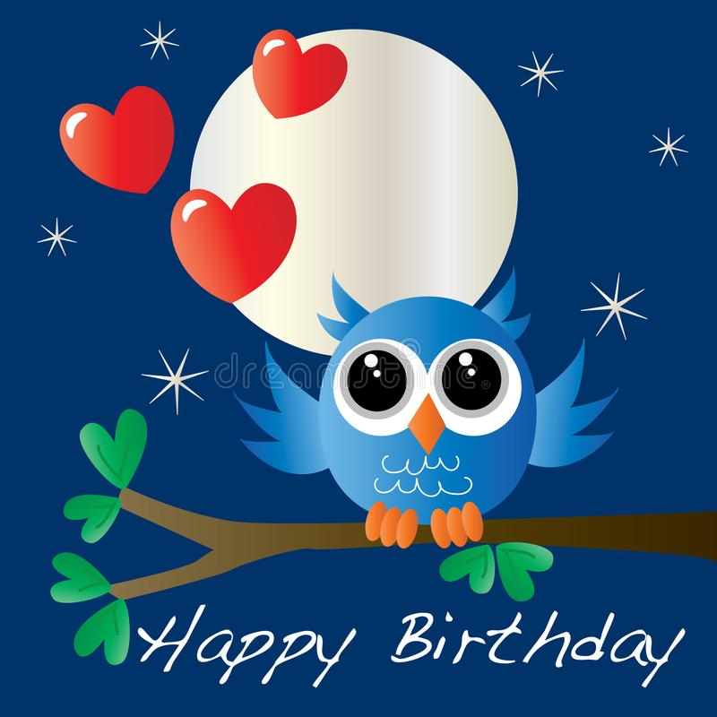 Happy birthday card with a sweet little owl. Happy birthday card with a sweet little blue owl gift bag card or box covering vector illustration