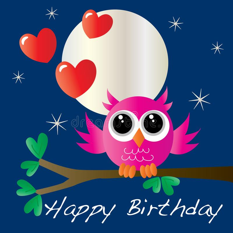 Happy birthday card with a sweet little owl. Happy birthday card with a sweet little pink owl gift bag card or box covering stock illustration