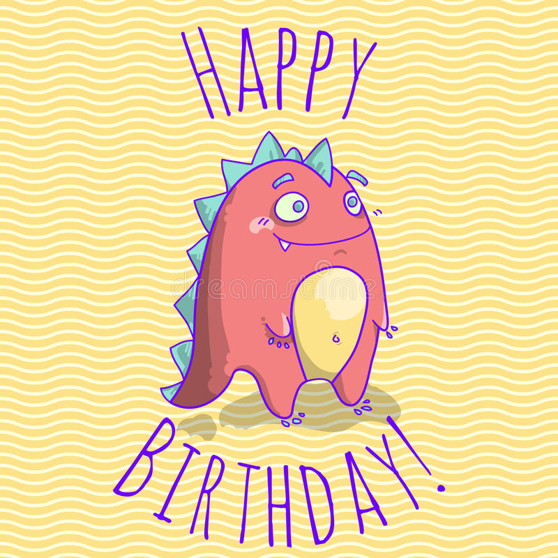 Happy birthday card template for children with funny dinosaur download happy birthday card template for children with funny dinosaur character stock vector illustration bookmarktalkfo Choice Image