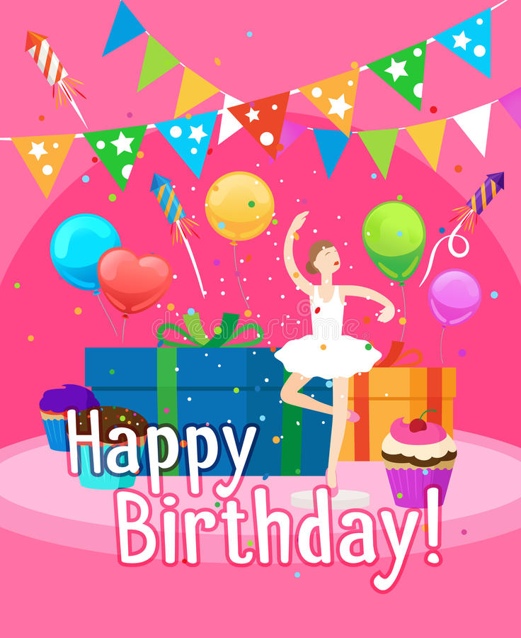 Happy Birthday Card Template For Girl Stock Vector Illustration Of