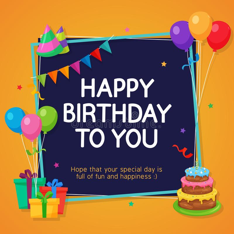 Happy Birthday Card Template with Party Decoration Ornament vector illustration
