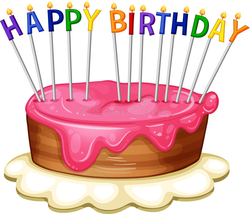 Happy Birthday card template with pink cake royalty free illustration