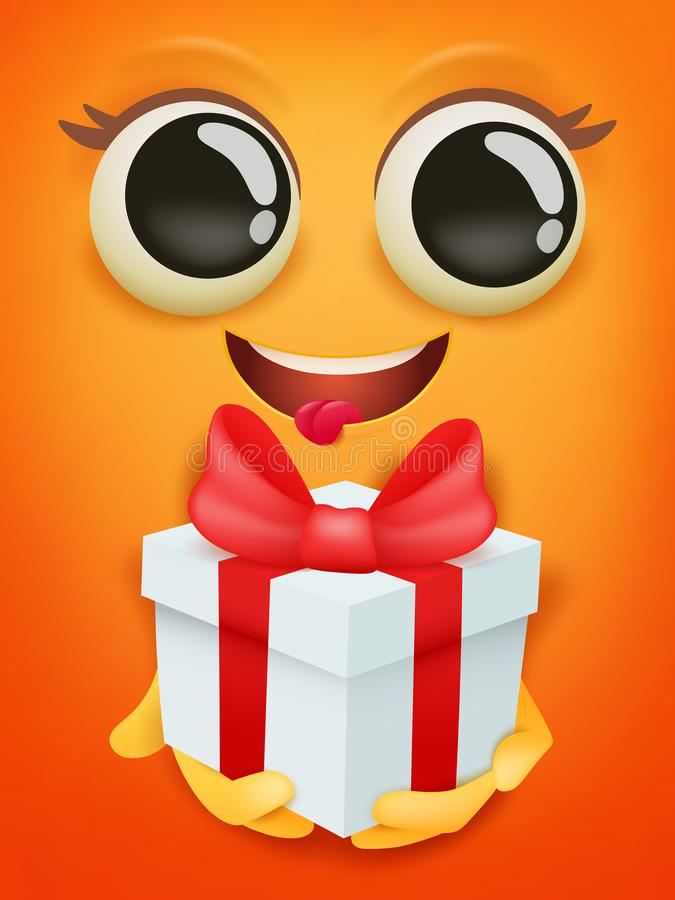 Happy birthday card template with yellow smiley face emoticon with gift box royalty free illustration