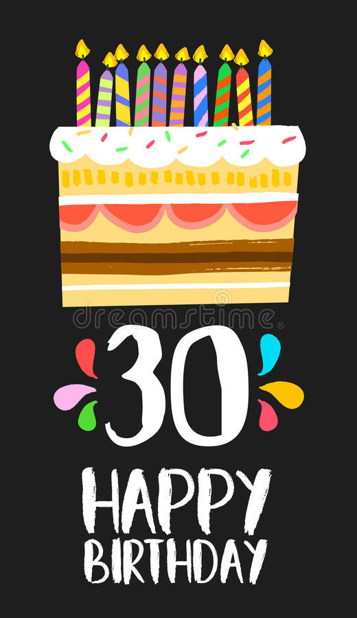 Happy Birthday card 30 thirty year cake vector illustration