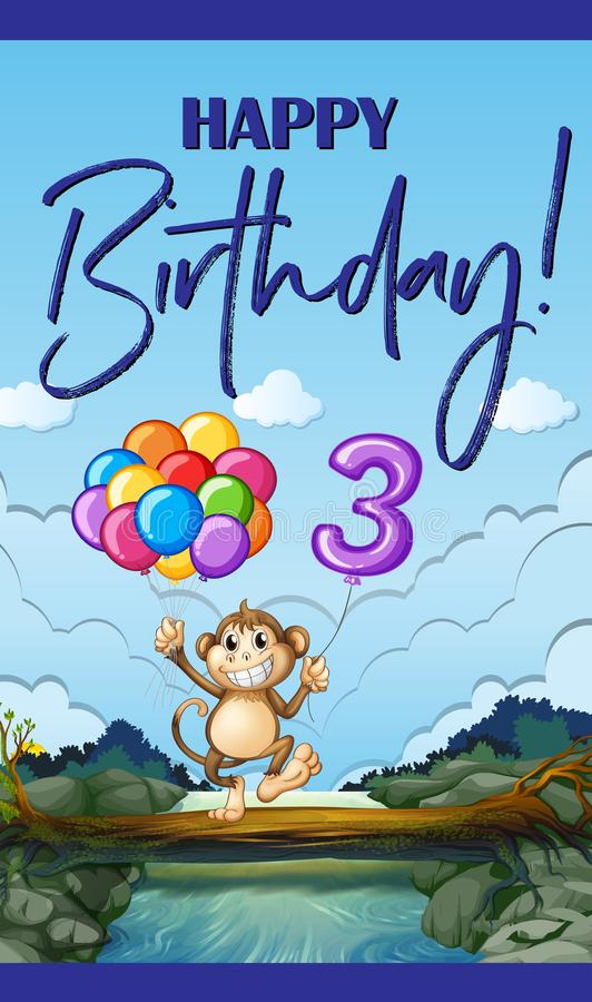 Happy Birthday Card For Three Year Old Stock Vector Illustration