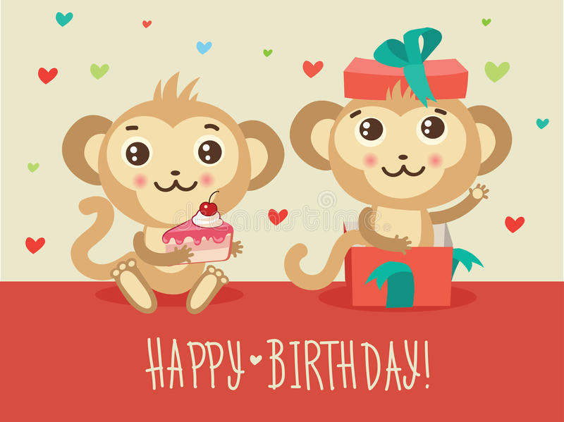 Happy Birthday Card With Two Funny Monkey Cake And Gift Box. Cute Cartoon Animal Vector. vector illustration