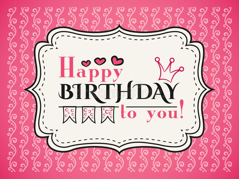 Happy birthday card. Typography letters font type stock illustration