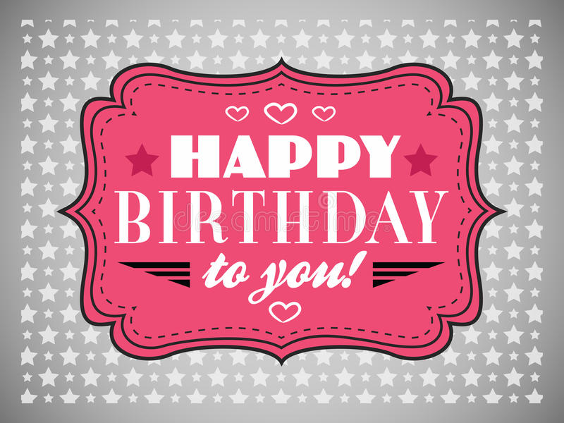 Happy birthday card. Typography letters font type vector illustration