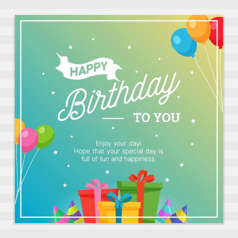 Happy Birthday Card Typography with Party Decoration Ornament. stock illustration