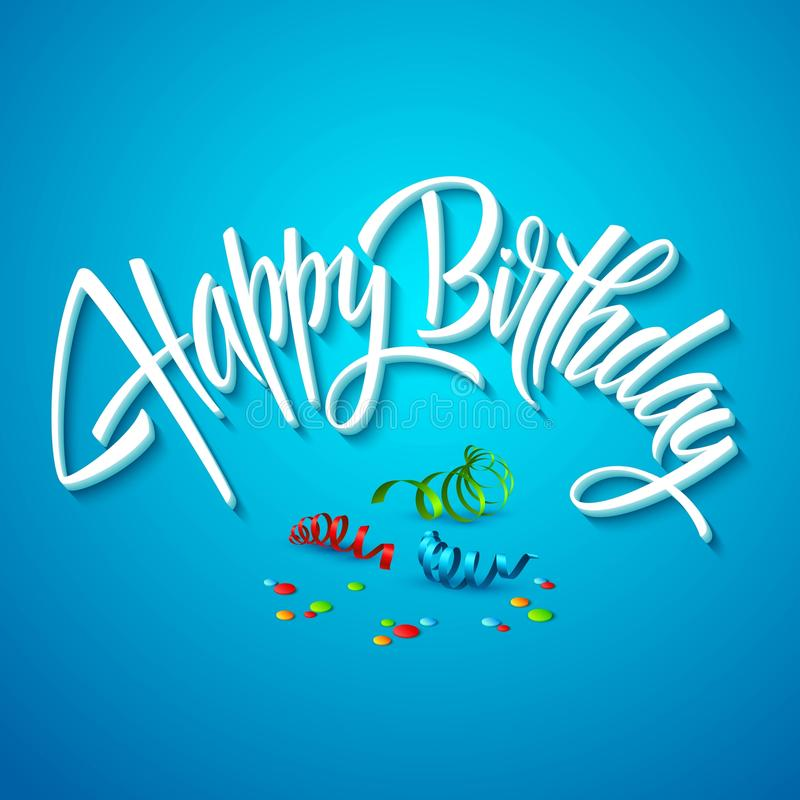 Happy birthday card typography. Vector royalty free illustration