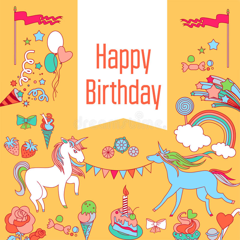 Happy birthday card with unicorn, strawberry, cake, sweets, rainbow and baloons stock illustration