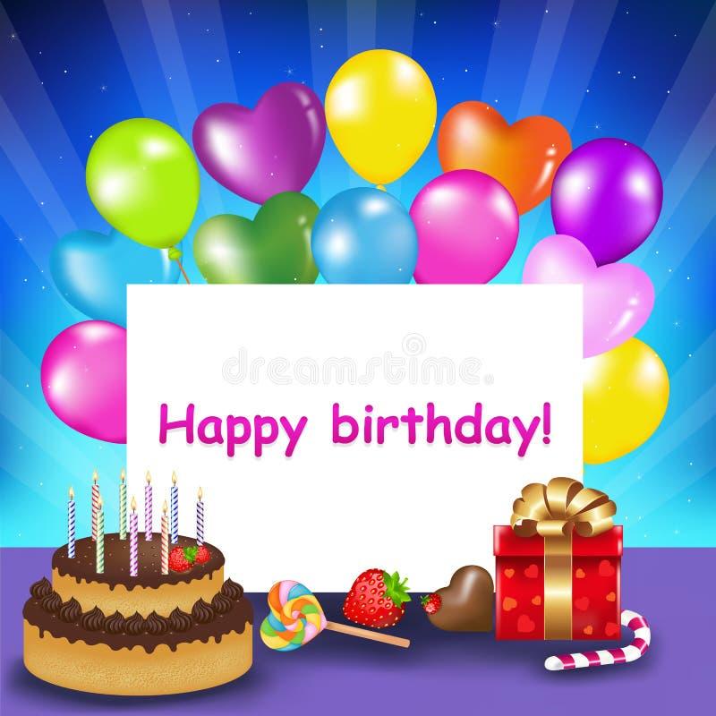 Happy Birthday Card. Vector Stock Photo