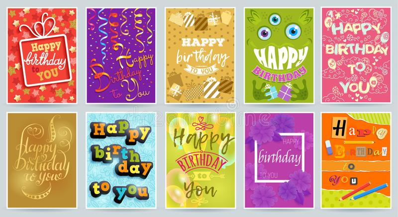 Happy birthday card vector anniversary greeting postcard with funny lettering and kids birth party invitation with gifts royalty free illustration