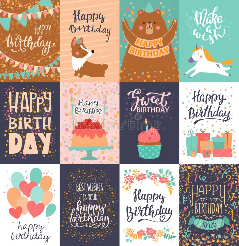 Happy birthday card vector anniversary greeting postcard with lettering and kids birth party invitation with cake or royalty free illustration