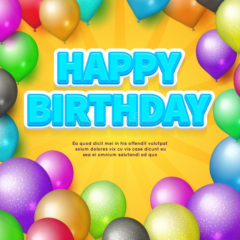 Happy Birthday card. Vector balloons and birthday stock illustration
