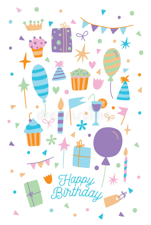 Happy birthday card. Vector illustration of cartoon postcard with gift box, sweets and balloons. vector illustration