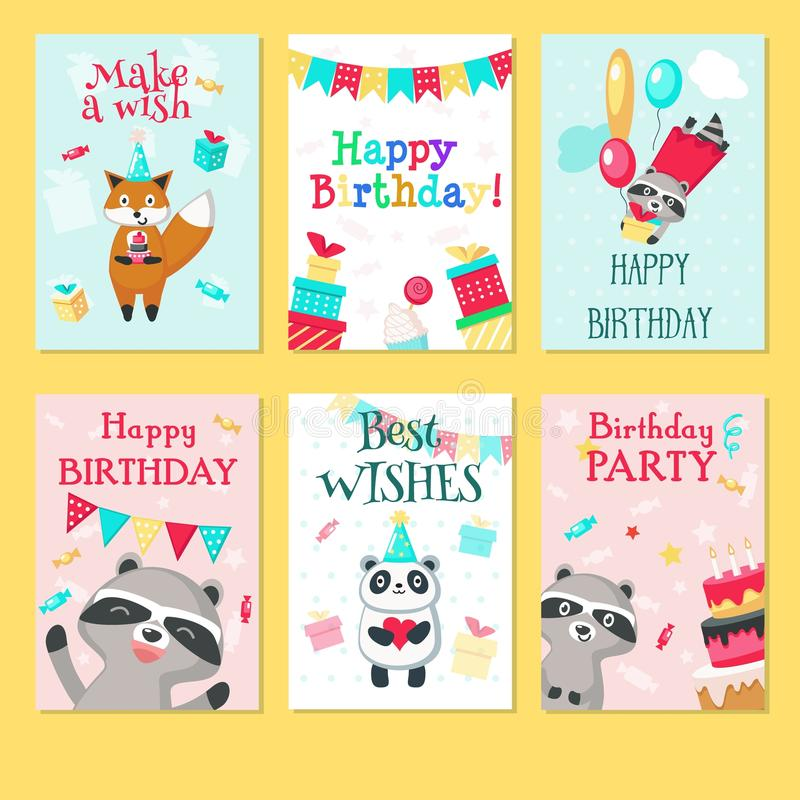 Happy birthday card vector template set stock illustration