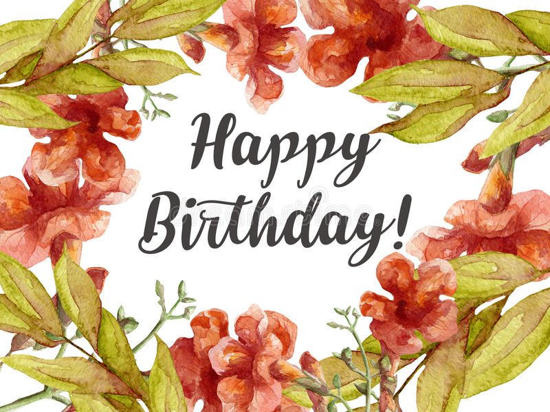 Happy birthday card with watercolor flowers stock illustration download happy birthday card with watercolor flowers stock illustration illustration of frame decoration bookmarktalkfo Gallery