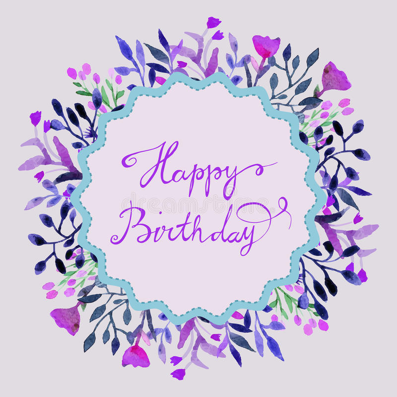 Happy birthday card watercolor round frame with hand paint flower download happy birthday card watercolor round frame with hand paint flower and leaves stock bookmarktalkfo Gallery