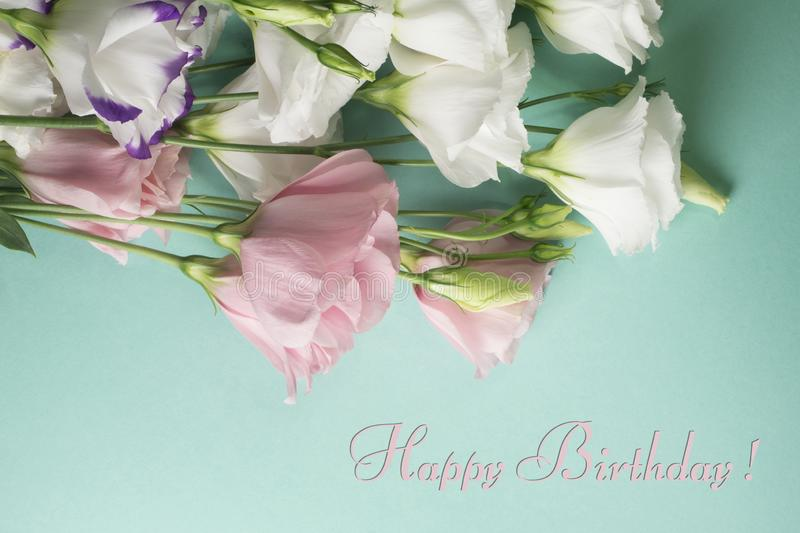Happy birthday card. White eustoma flowers on a light turquoise background stock photography