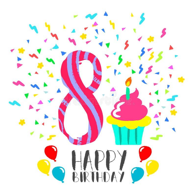 Happy Birthday card for 8 year kid fun party art stock illustration
