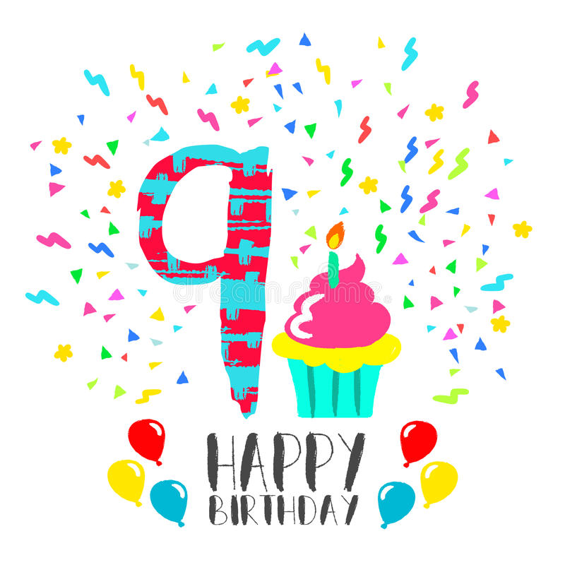 Happy Birthday Card For 9 Year Kid Fun Party Art Stock Vector
