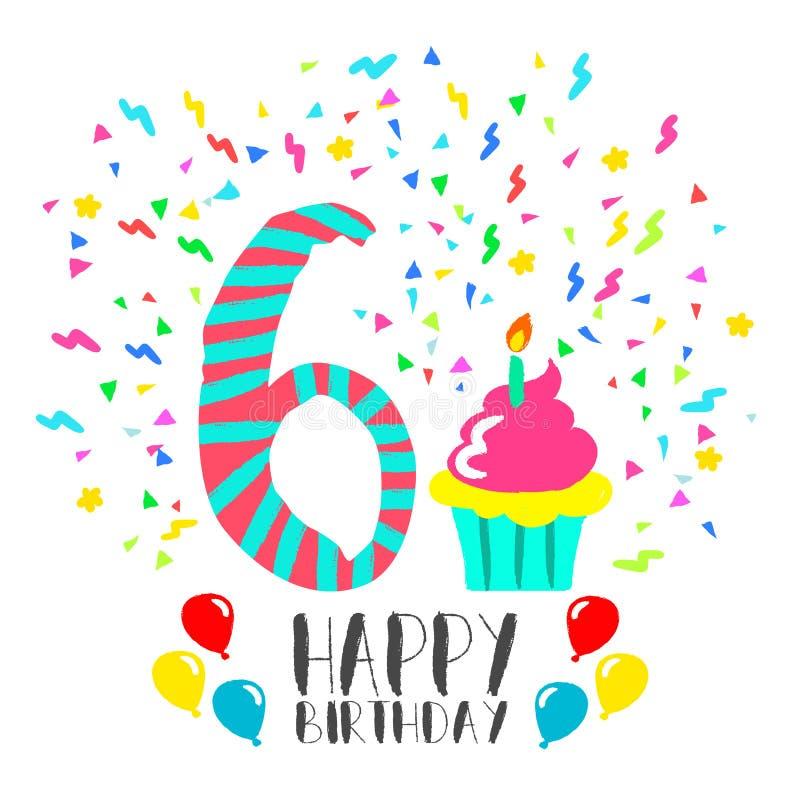 Happy Birthday card for 6 year kid fun party art vector illustration