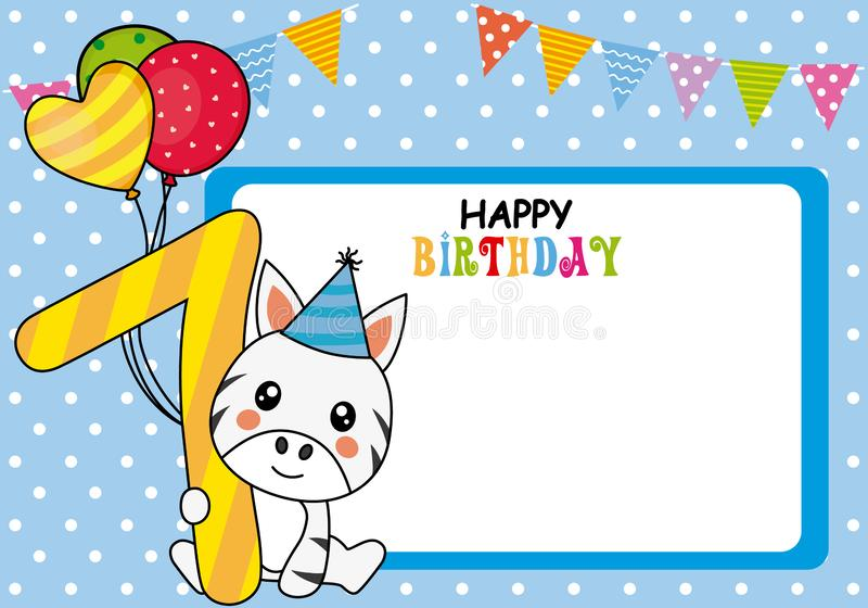 Happy birthday card. Zebra with balloons and the number seven stock illustration