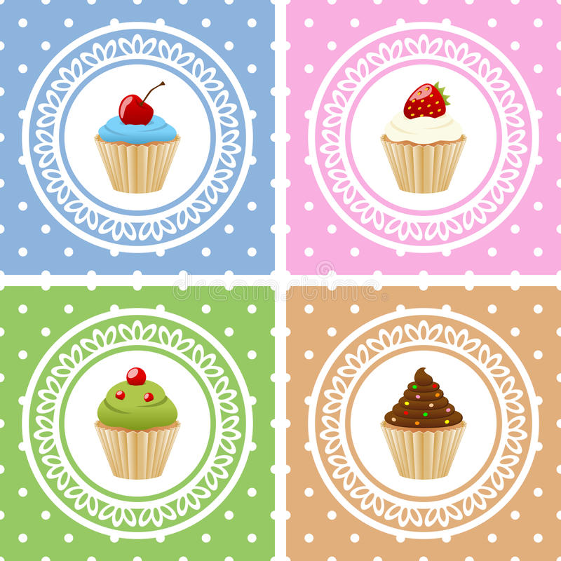 Happy Birthday Cards with Cupcakes. Collection of four birthday cards with different sweet cupcakes. Eps file available vector illustration