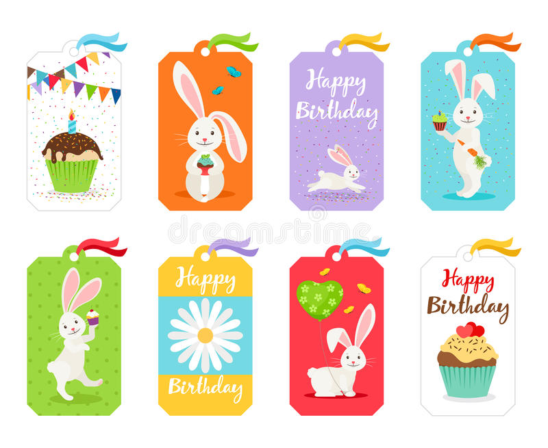 Happy birthday cards and invitation tags royalty free illustration