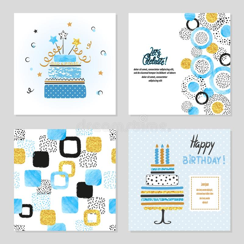 Happy Birthday cards set in blue and golden colors stock illustration