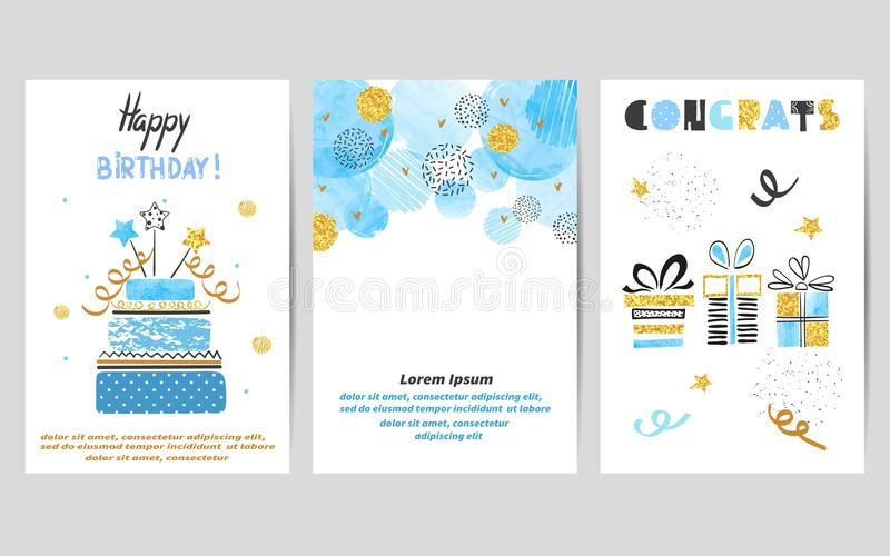 Happy Birthday cards set in blue and golden colors vector illustration